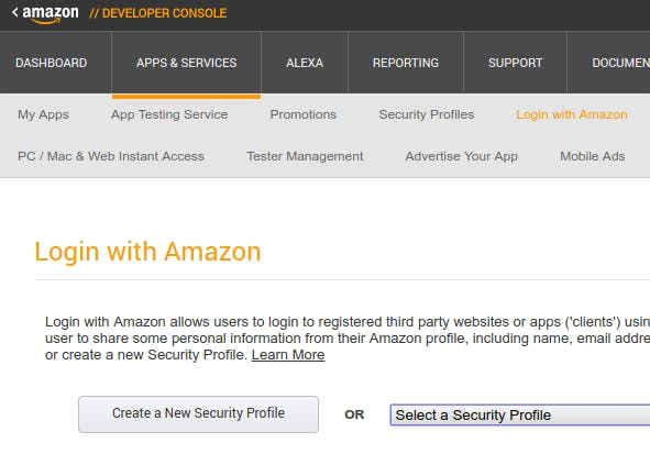 Login with Amazon page