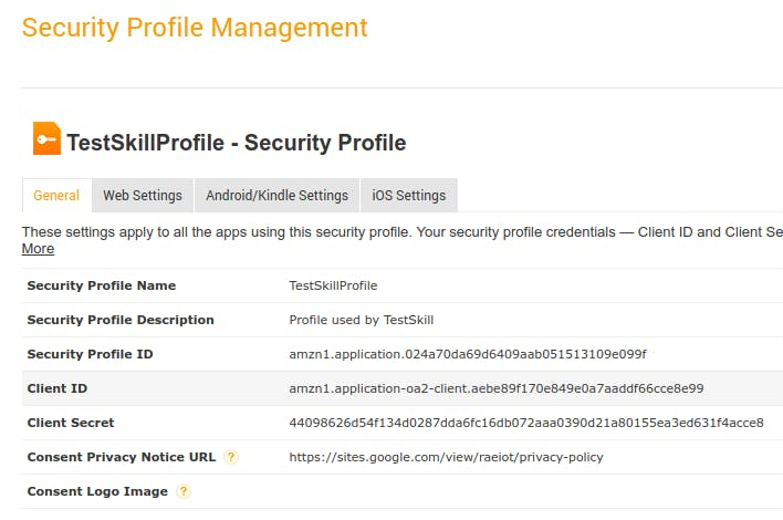Security Profile Saved with Client ID and Client Secret