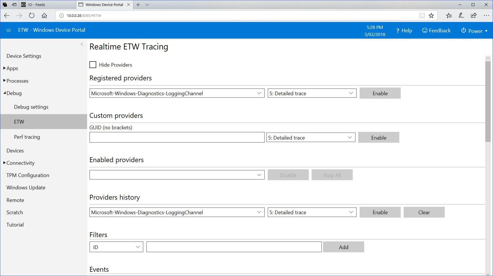 Windows 10 ETW Setup viewed using device portal