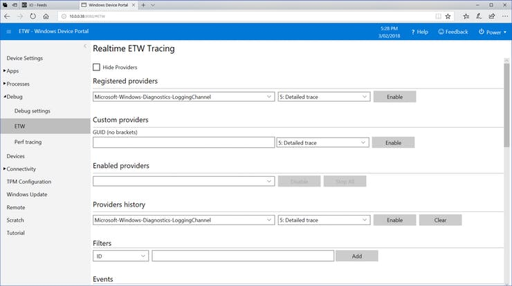 Windows 10 ETW Setup viewed using device portal