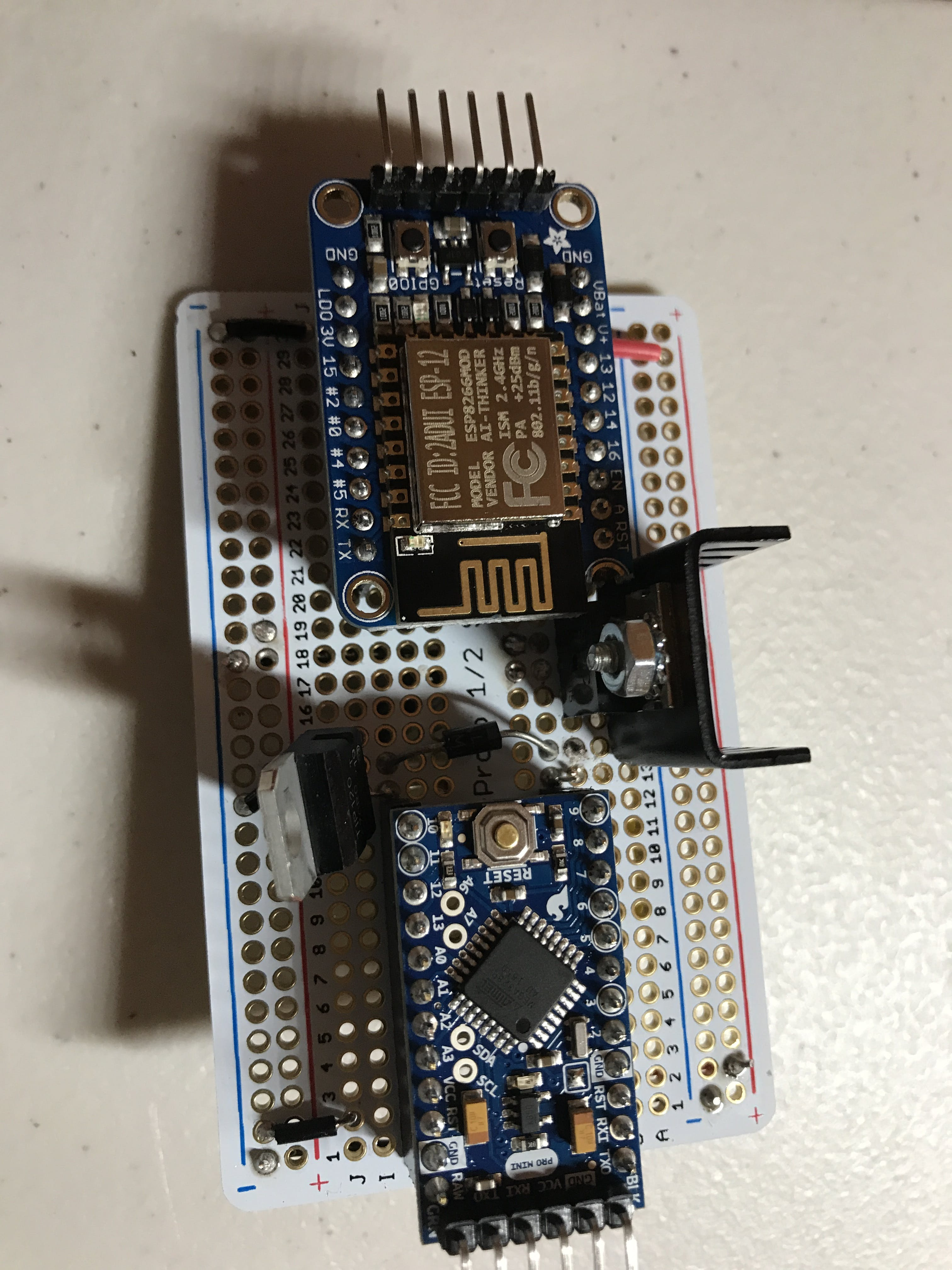 Huzzah and Arduino Pro Mini (note - I switched the Huzzah Breakout with a Adafruit Huzzah Feather later in the build)