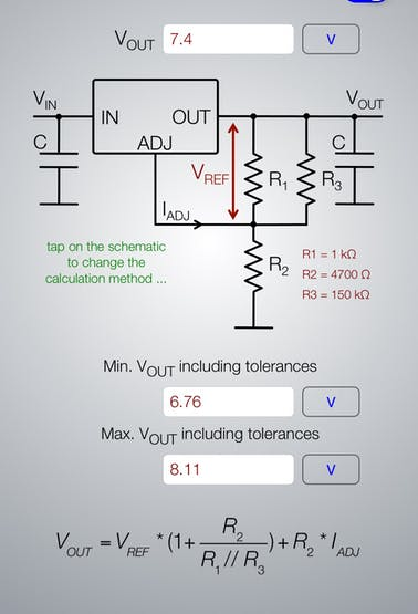 the LM317T calculation for 7.4 volts