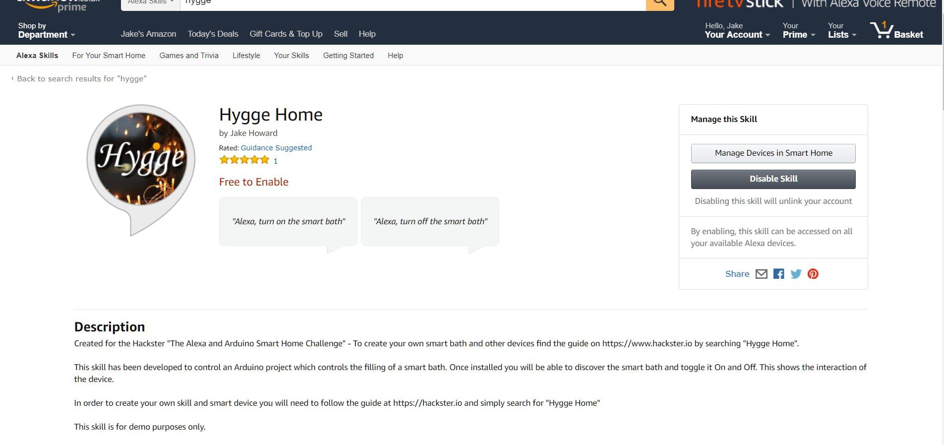 "Alexa Skill ""Hygge Home"""