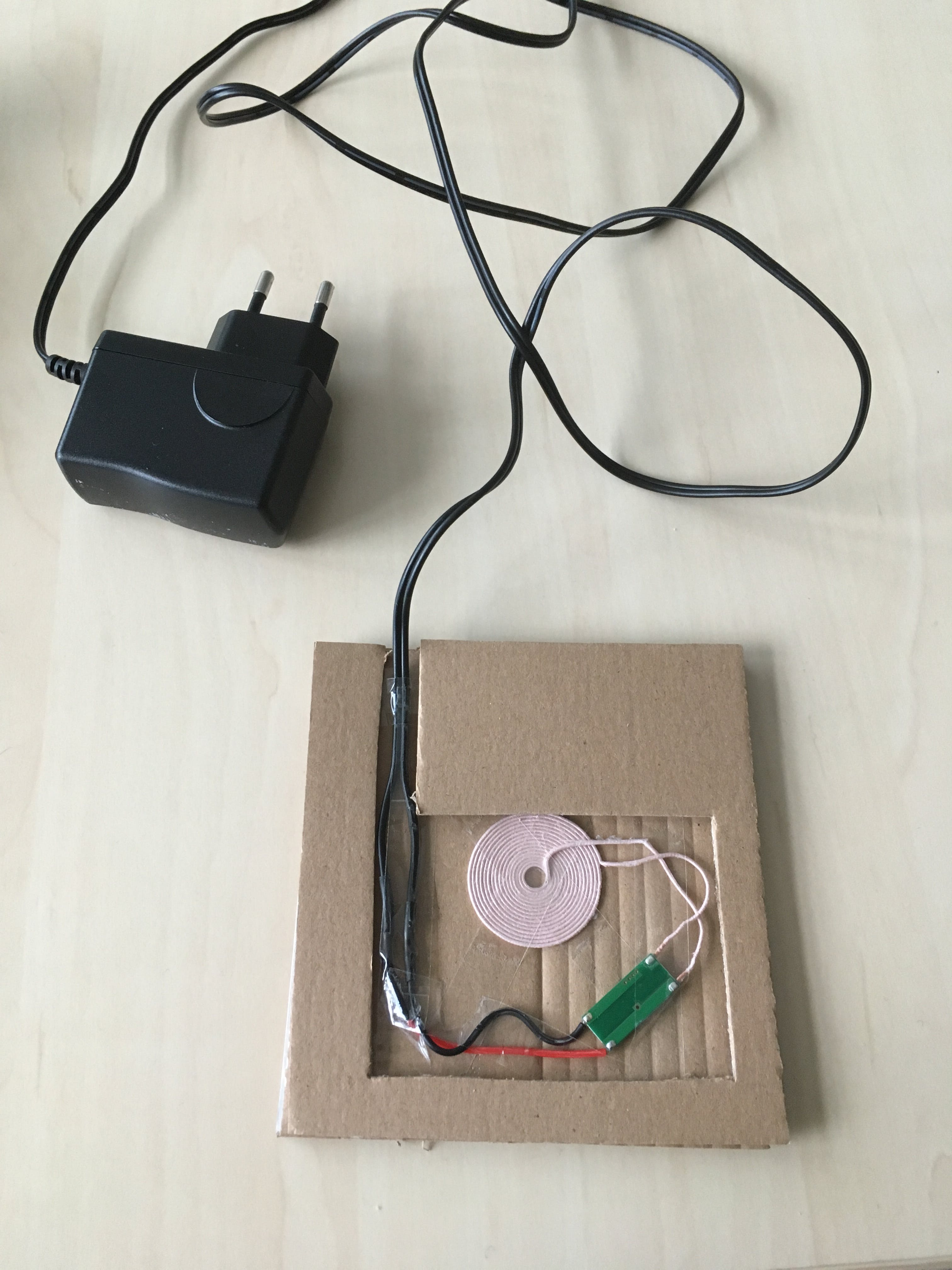 First test for the inductive transmitter