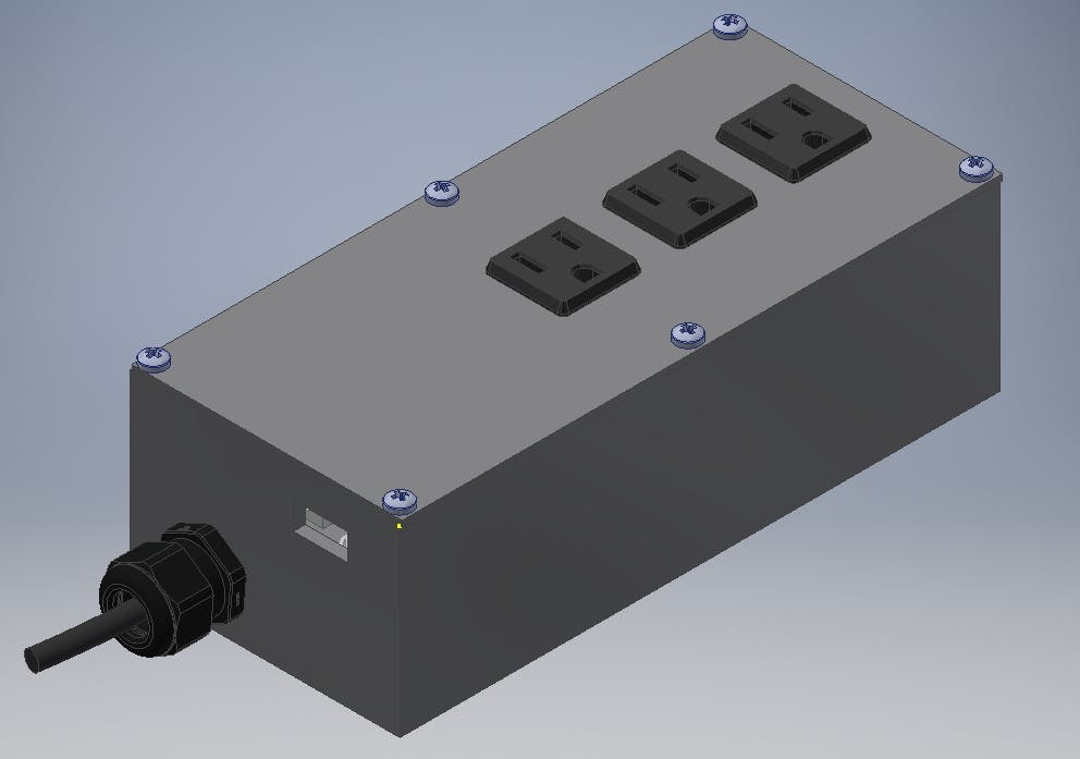 3D render of the complete assembly