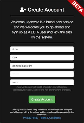 Monocle Account Registration Form