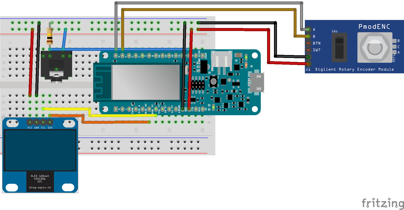Arduino MKR1000 with rotary encoder, OLED and connector for the thermometer