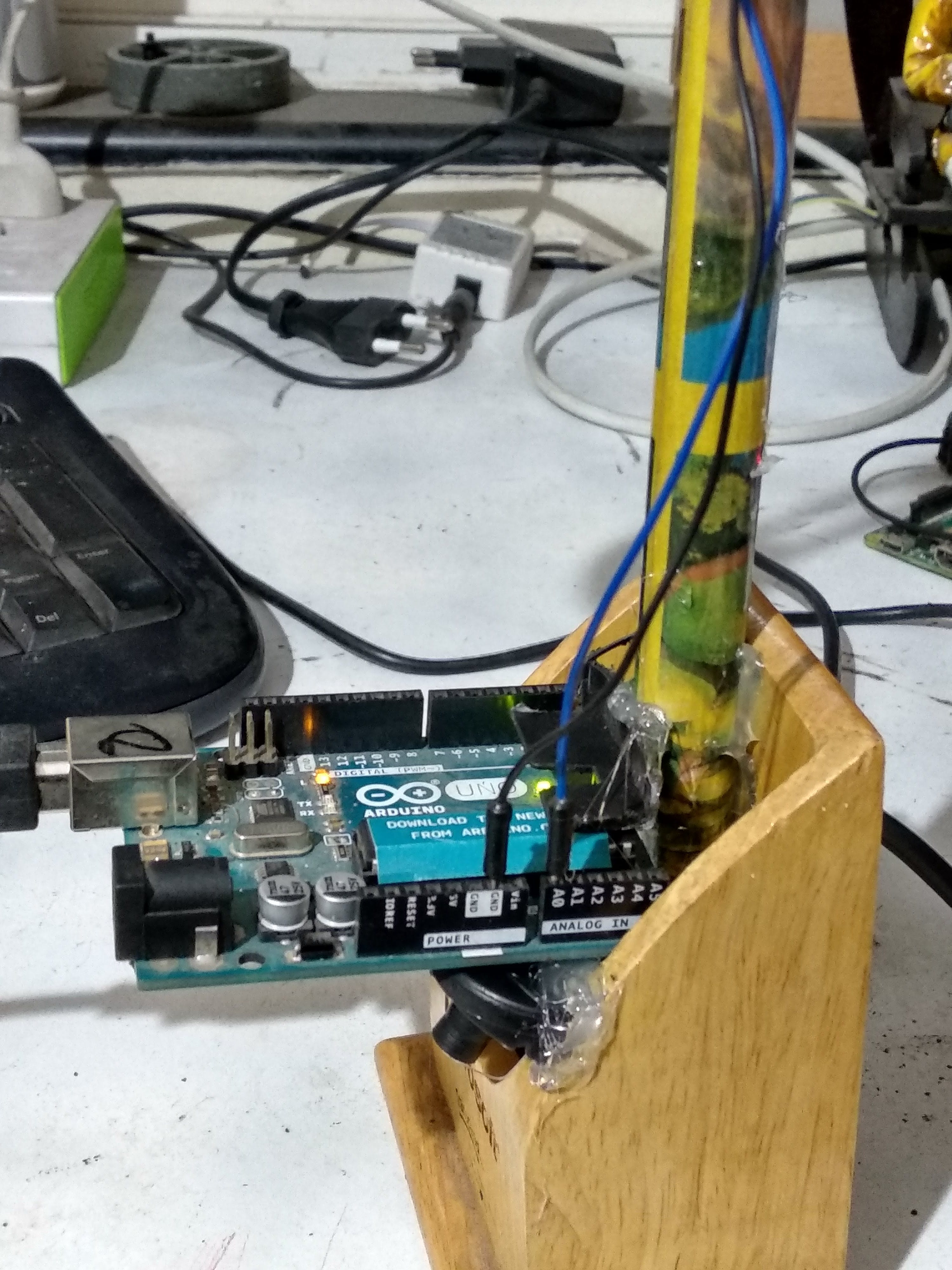 Arduino board mounted with the assembly