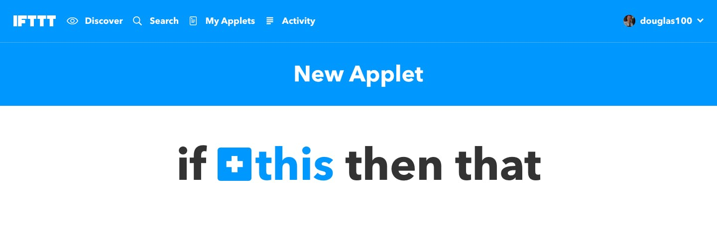 IFTTT New Applet page
