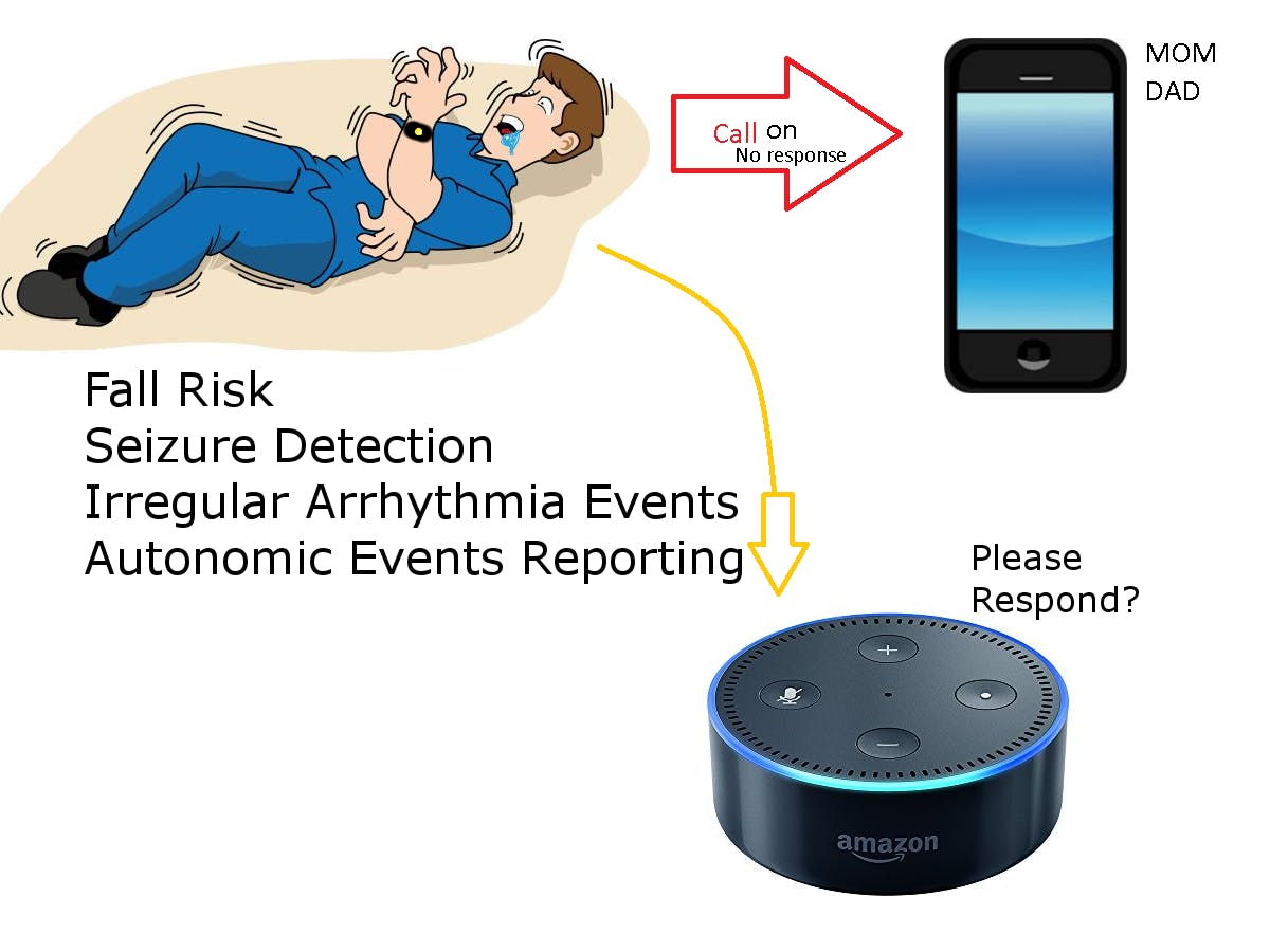 Alexa Skill for Seizure-Risk Users (Requires Wristband)