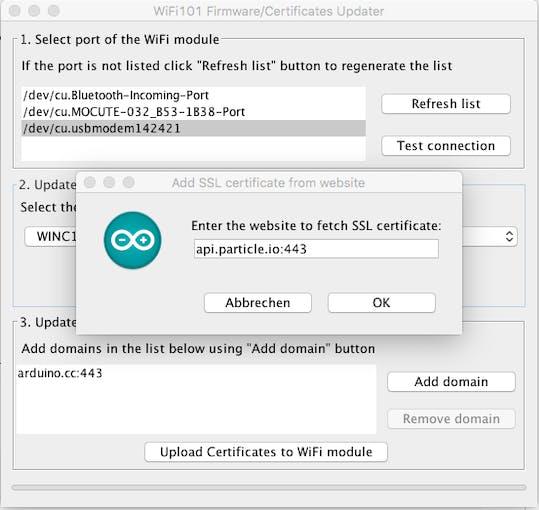 Wifi101 Firmware/Certificate Updater