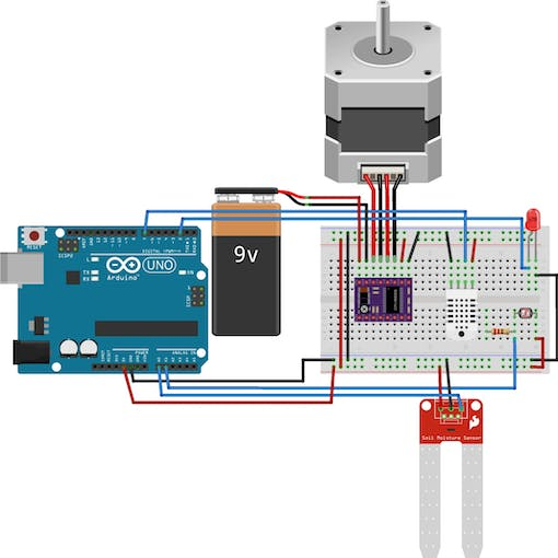 The complete circuit used to connect all the sensors and motors