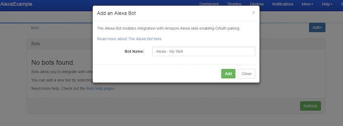 Create the Alexa Bot at Tinamous.