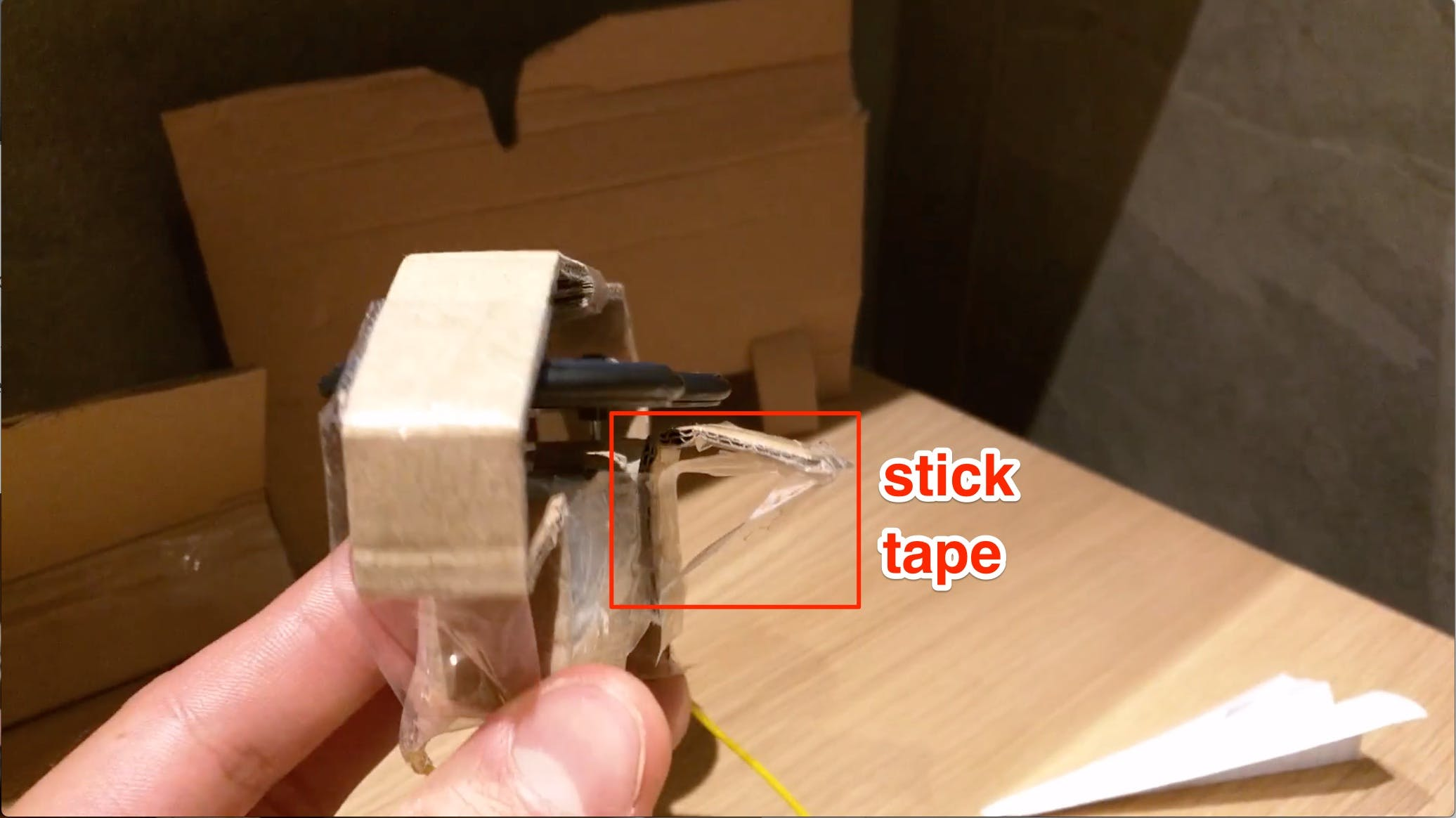 The stick tape helps the base to keep its angle. That angle is used to pull up the plain's nose