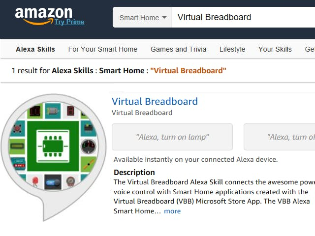 Virtual Breadboard Smart Home Alexa Skill + Edge:Bit Gadget