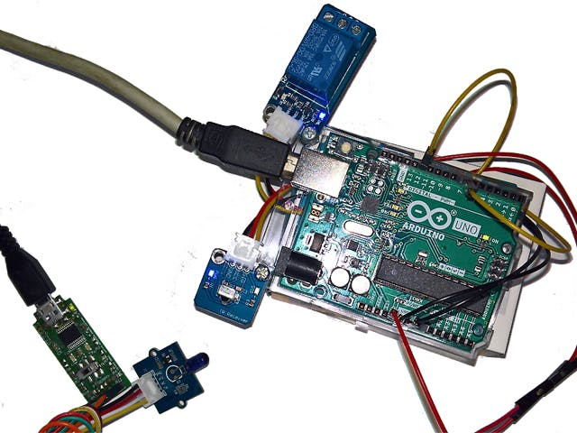 Arduino UNO with Relay and Infrared receiver modules