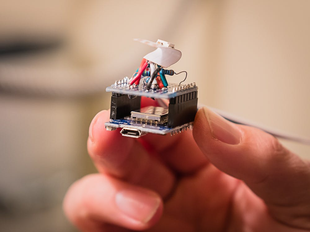 The Wemos D1 Mini is a perfect fit for small projects like this.