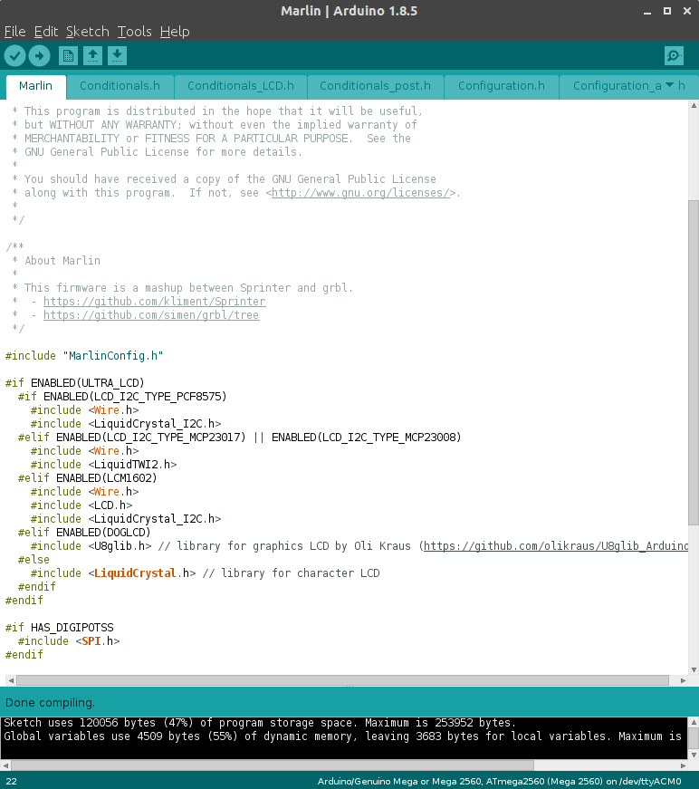the Marlin Firmare in the Arduino IDE