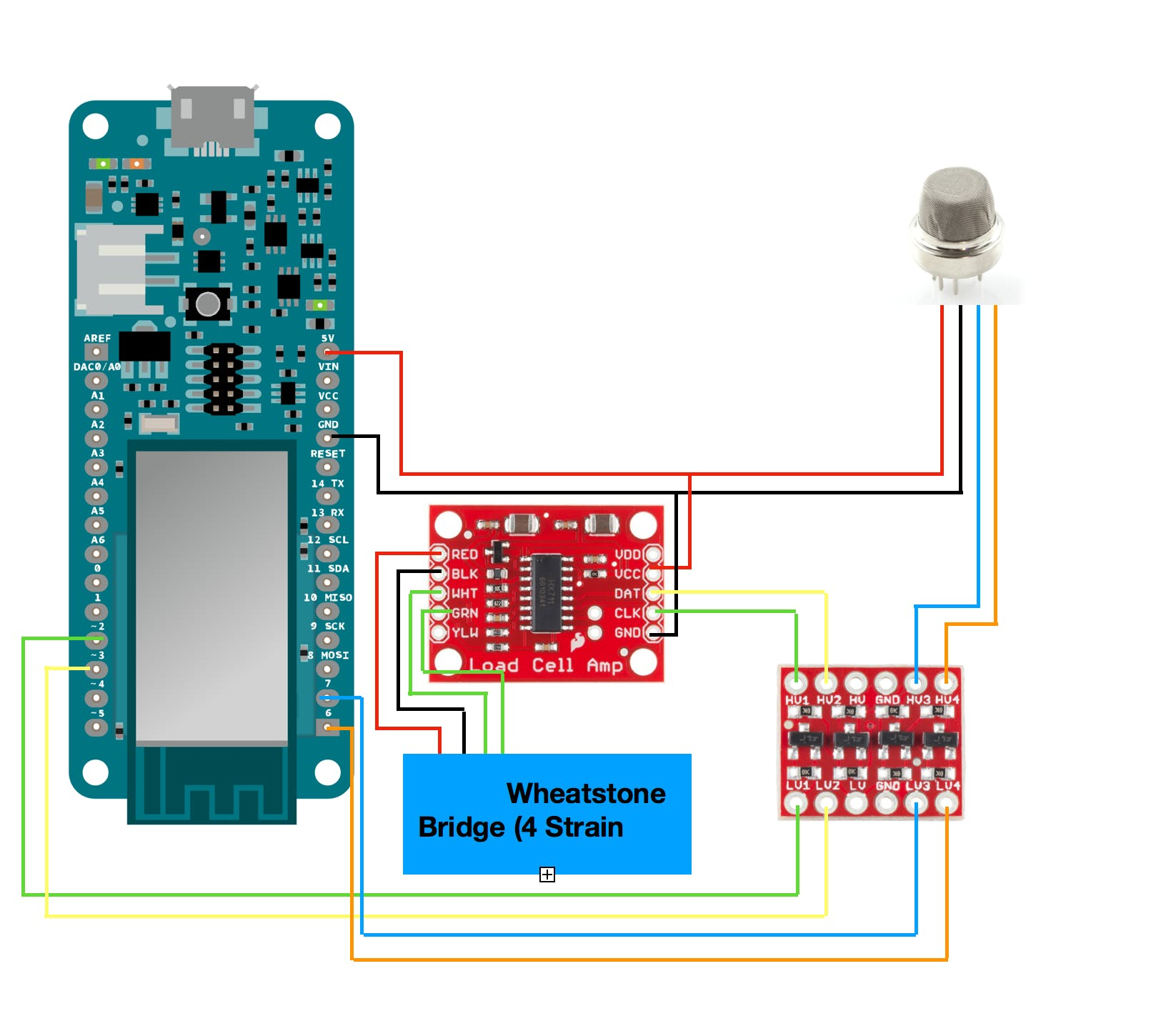 Example Diagram*Note LPG Sensor Supposed to be connected to analog A0 not DigitalPin.