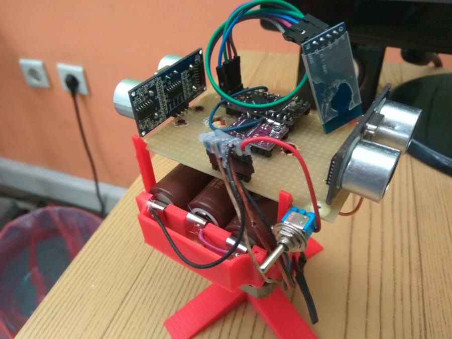 Arduino Two Ultrasonic Sensor Radar - 360 degrees Rotation