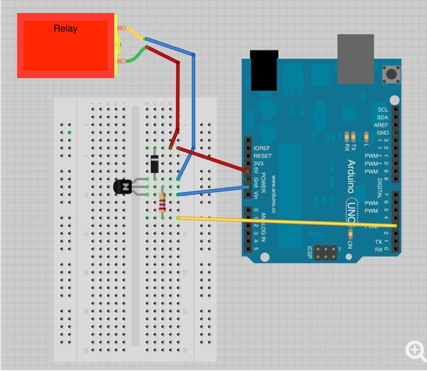 Wiring diagram (same as using a motor with an Arduino)