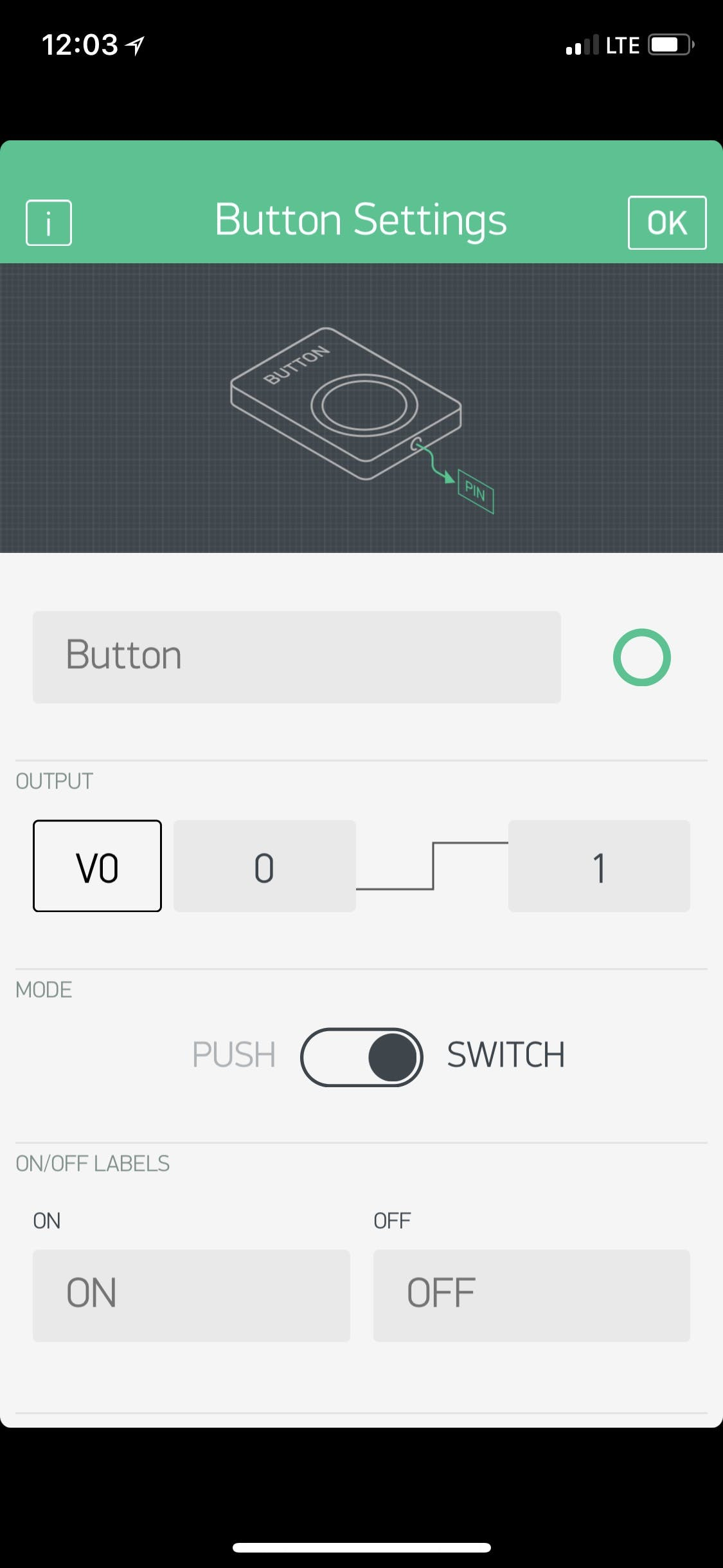 What your Blynk Button should look like