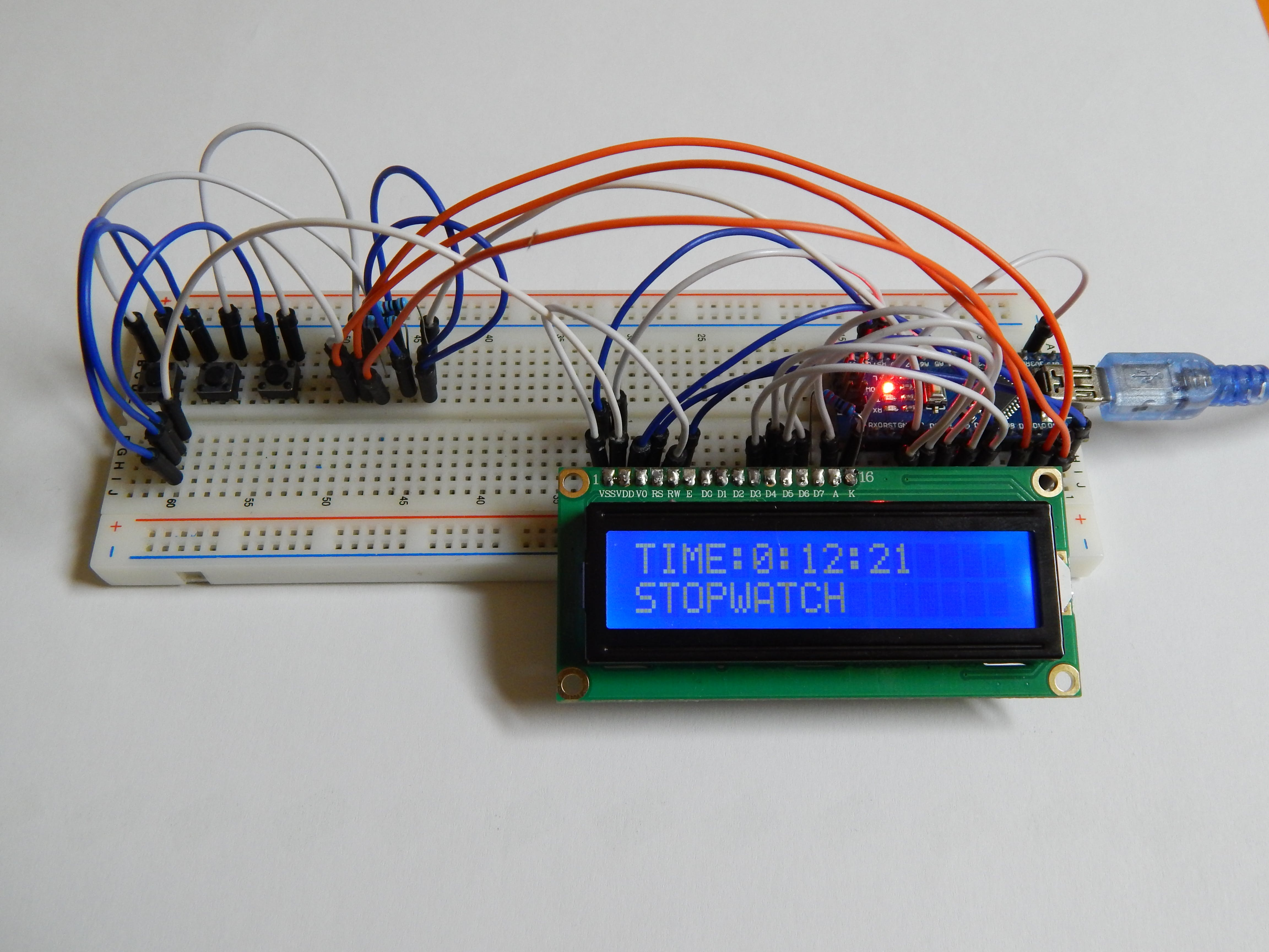 Arduino Nano LCD Stopwatch Without Potentiometer