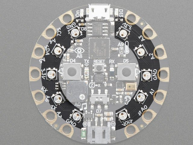 The neopixels on the Circuit Playground Express. Source: Adafruit