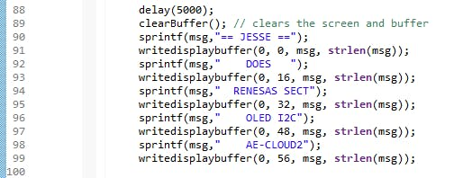 Edit text strings to change OLED screen messages. Use only upper case letters