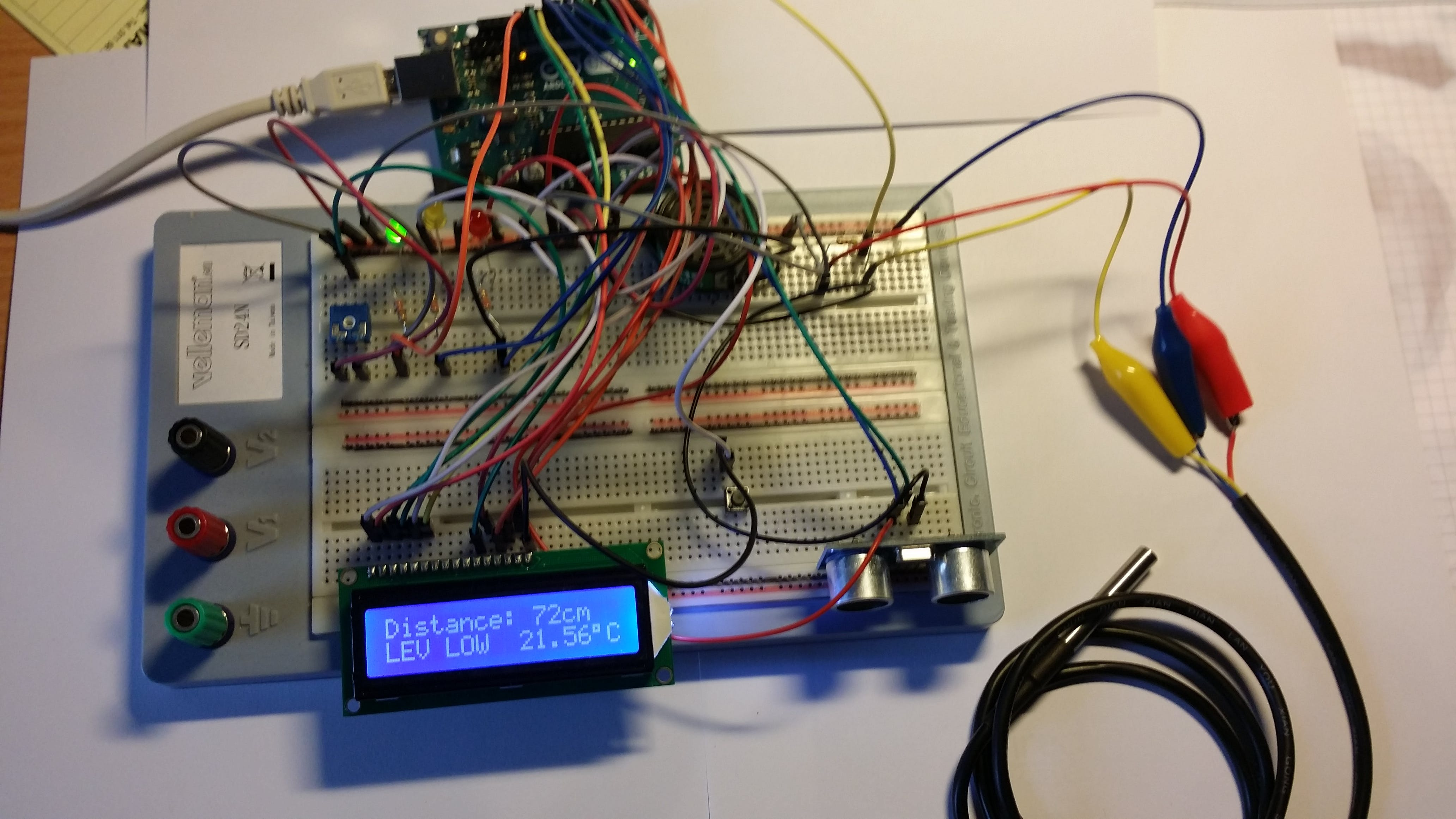 Ultrasonic Sensor with Alarm, LCD and Temperature