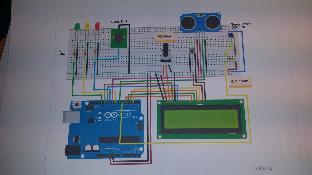 Ultrasonic Sensor With Alarm Lcd And Temperature Simple Buzzer Interface Circuit Diagram