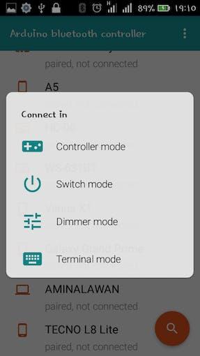 Select terminal mode