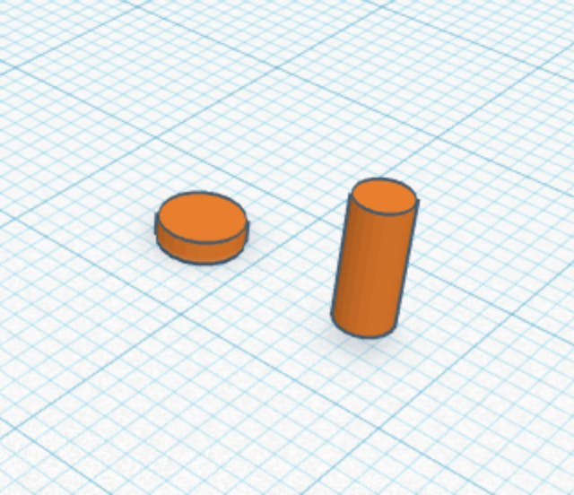 The screw top and bottom in Tinkercad
