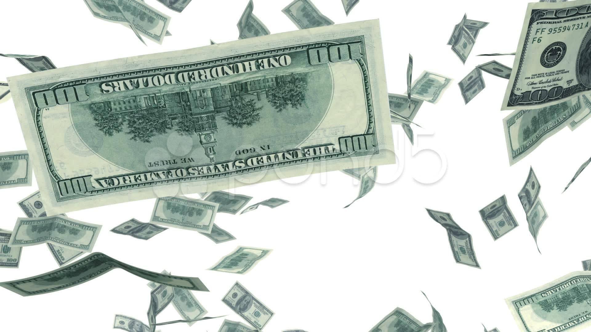Dollars falling looped animation alpha footage 020642243 prevstill