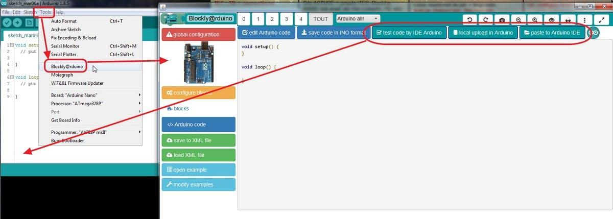 Plugin Blockly@rduino for Arduino IDE