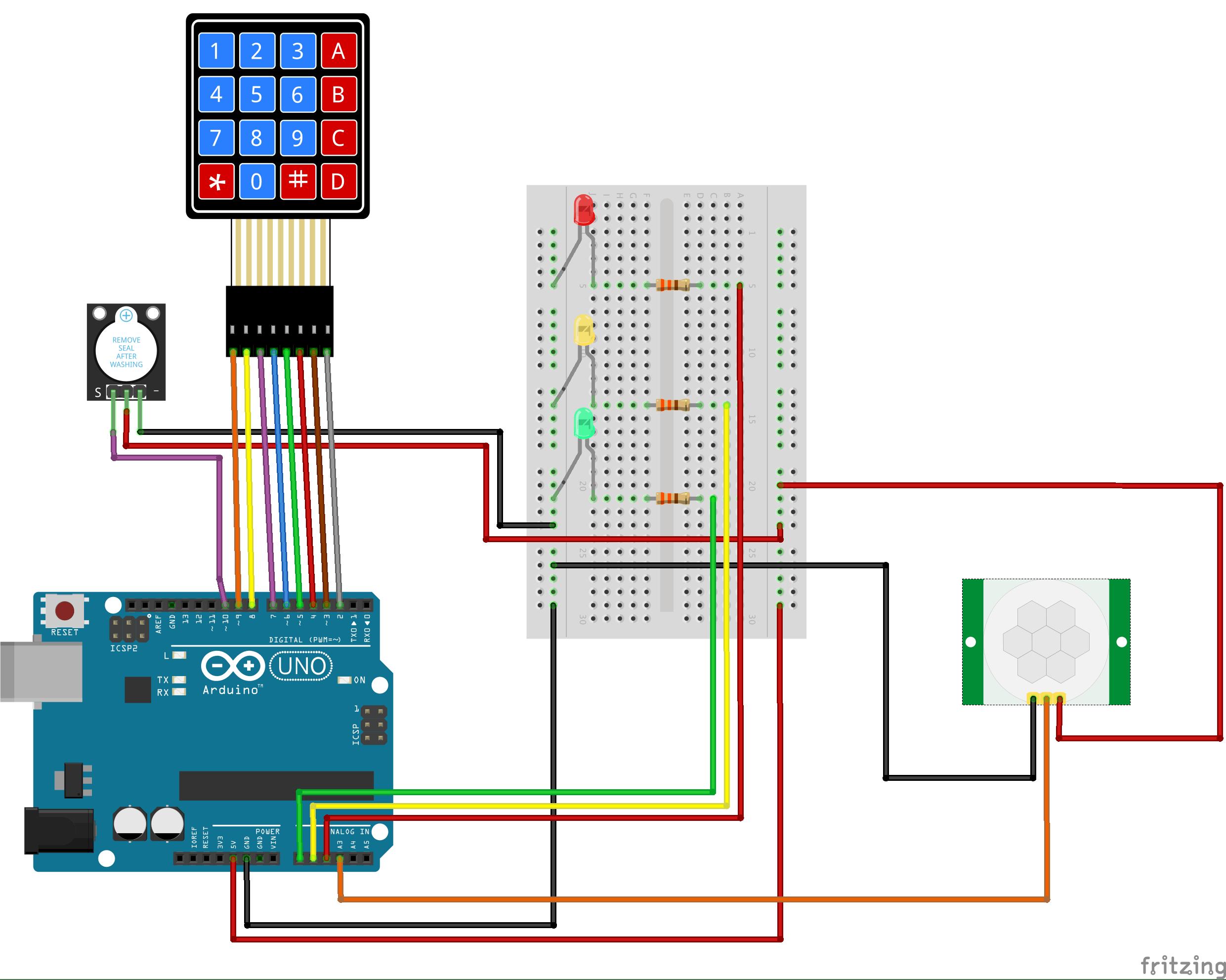 Motion Sensing Alarm With Keypad Amp Password Hackster Io