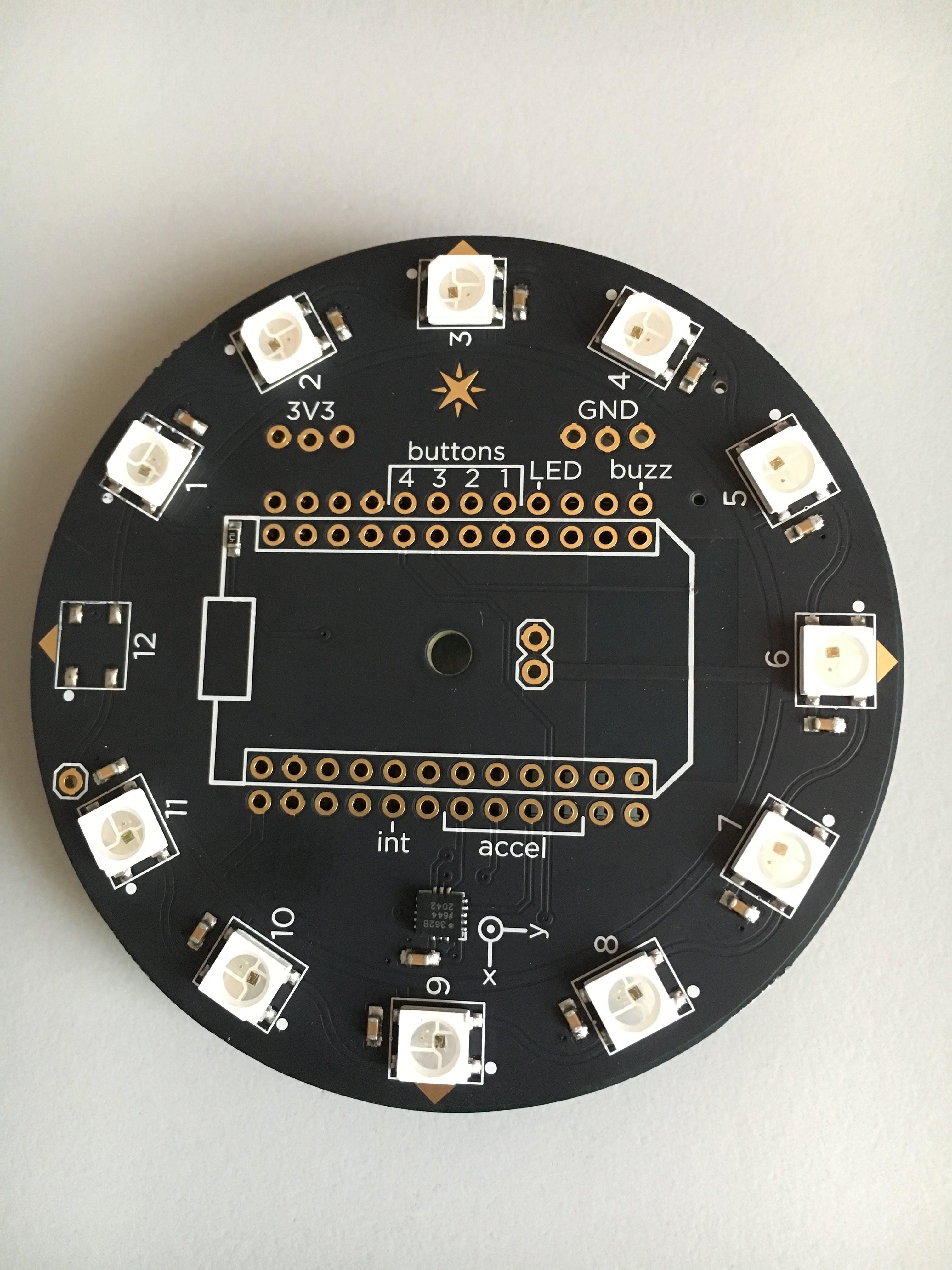 backside with accelerometer, 11 LEDs