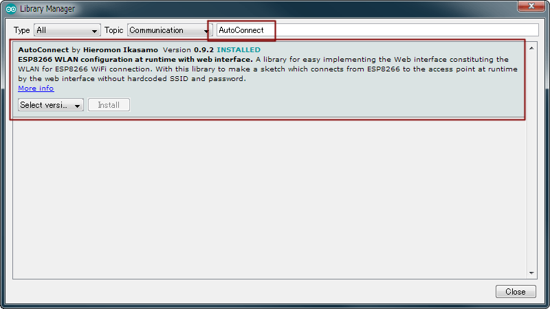 Install the AutoConnect from Library manager