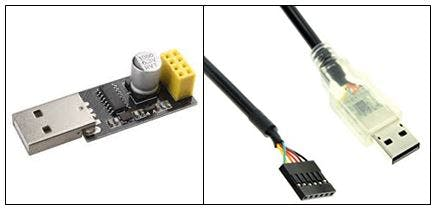 USB to ESP8266 Wifi Modul Adapter (left) and FTDI Serial TTL-232 USB cable (right) are recommended for bootloading