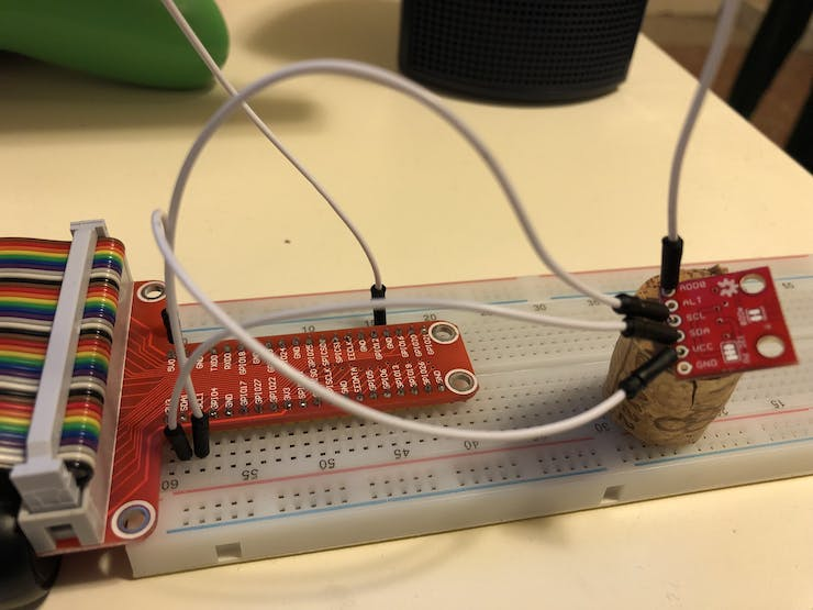 T type breakout board connected to a breadboard and to a TMP102 (bung used to avoid the use of a soldering)