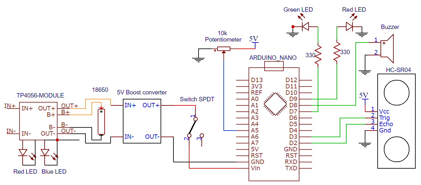 Diy Portable Distance Detection Device Led Potentiometer Wiring Diagram Circuit Schematic Ccwyc5xrr2