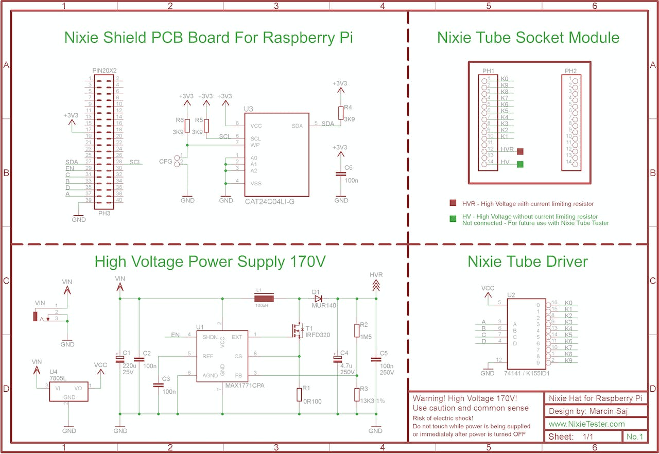 Nixie Tube Shield Hat For Raspberry Pi Schematic Page 1