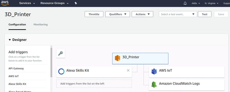 AWS Lambda designer with the used triggers and resources