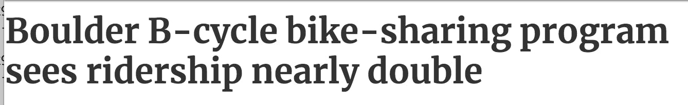 News story about local bike sharing growth