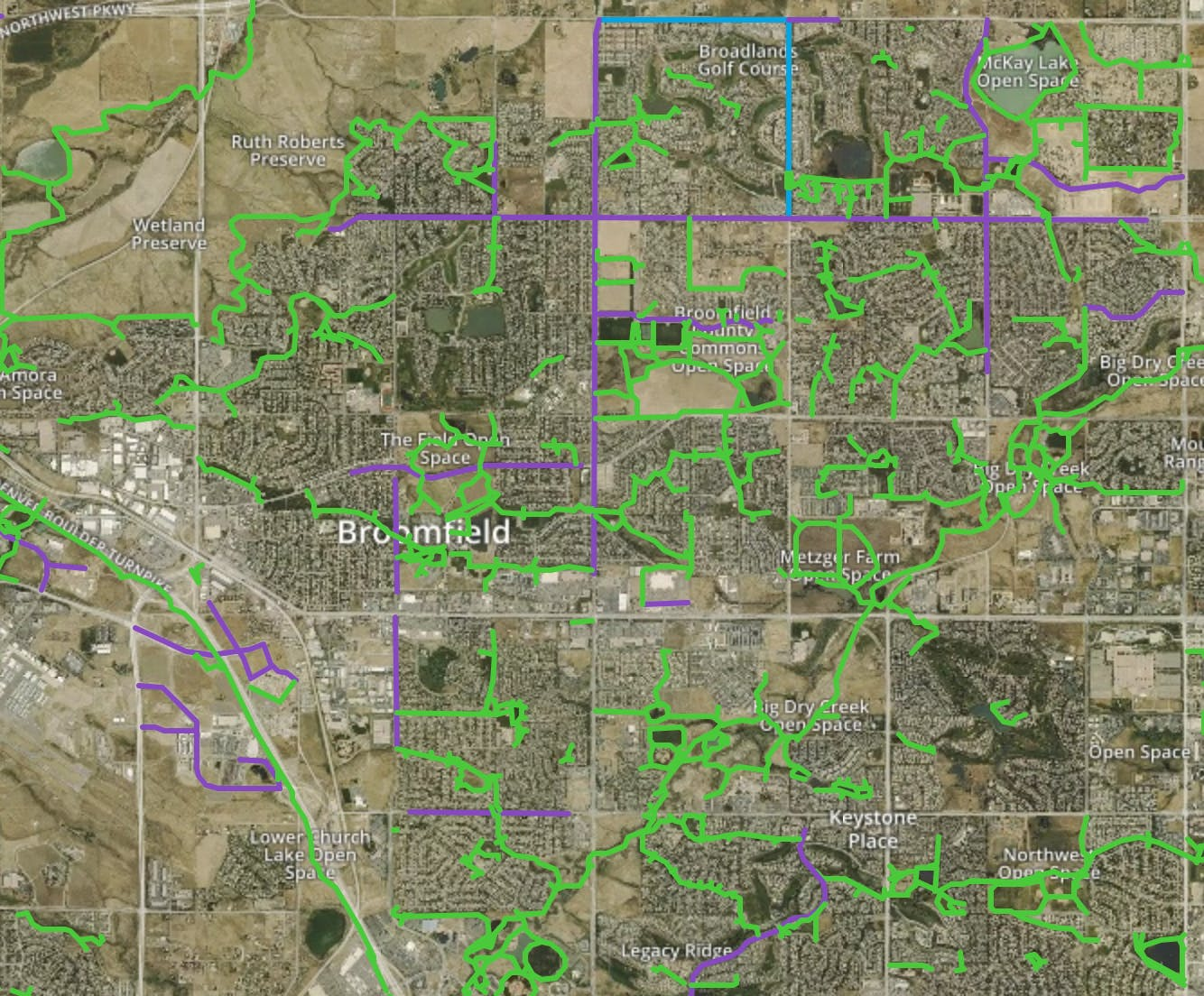 Bike paths in Broomfield, Colorado