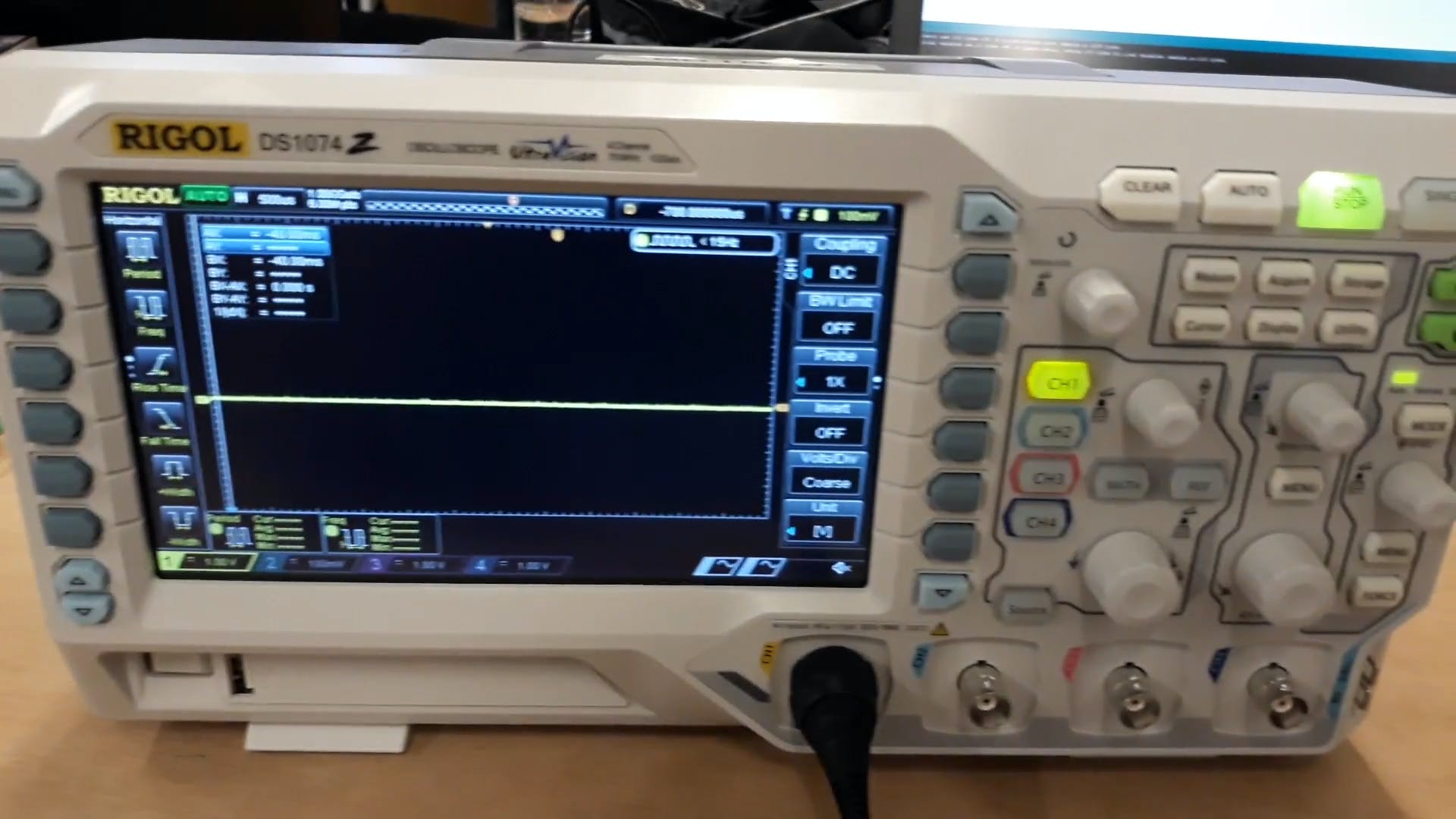 The output of the low pass filter on an oscilloscope