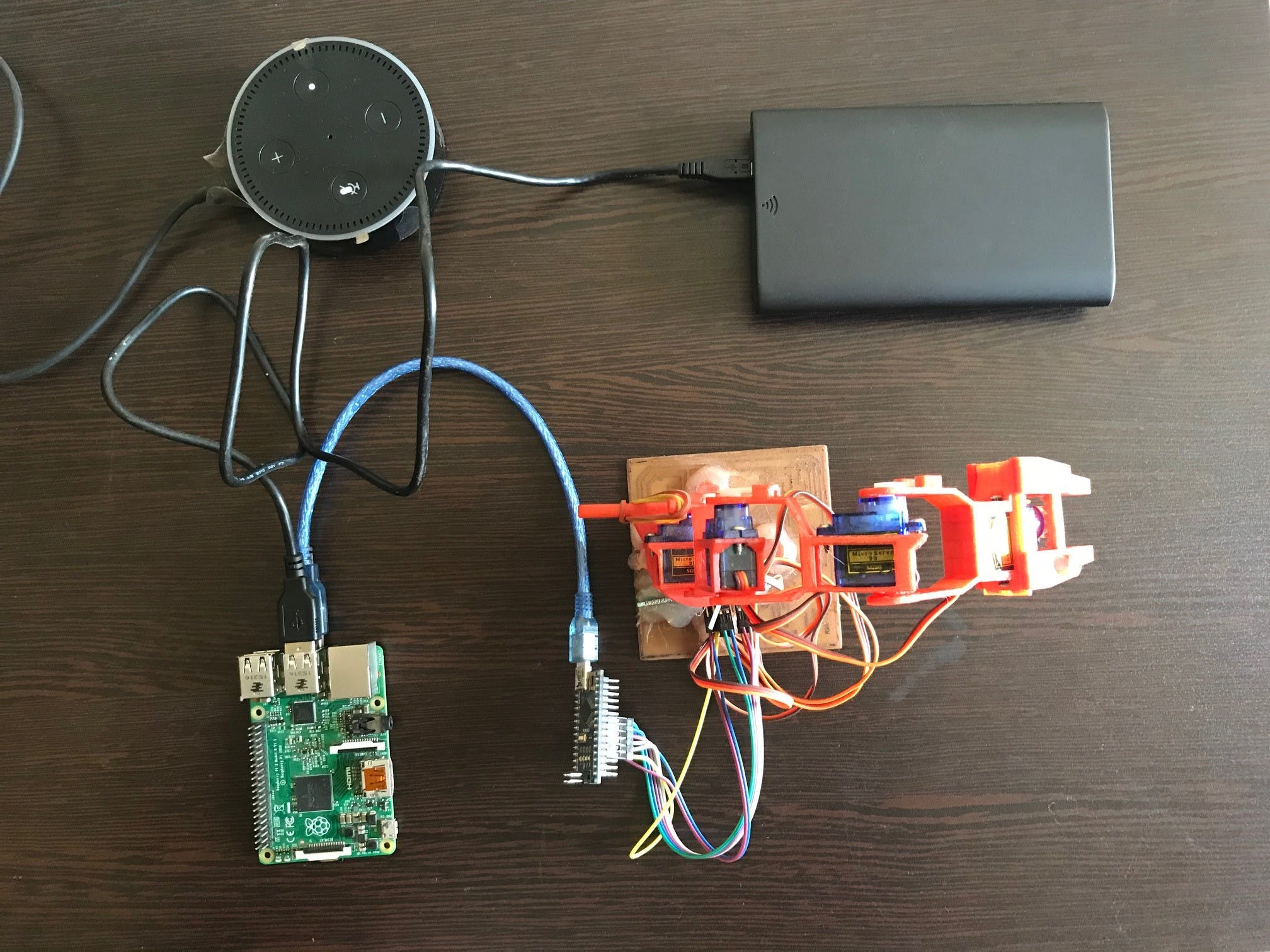 Connection of Raspberry Pi, Walabot and Robotic Arm