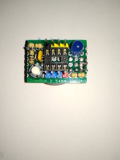 Soldered IC base, male pins, push switch, LED,