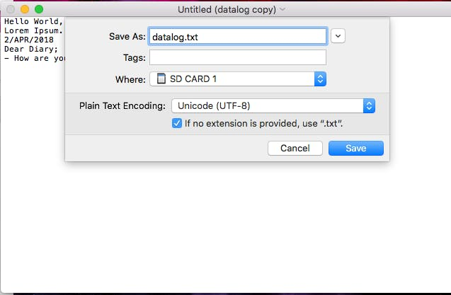 Save the File to the SD Card as datalog.txt. You can eject the SD Card