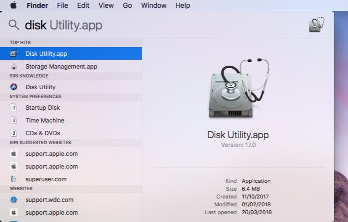 Open Disk Utility on the Mac